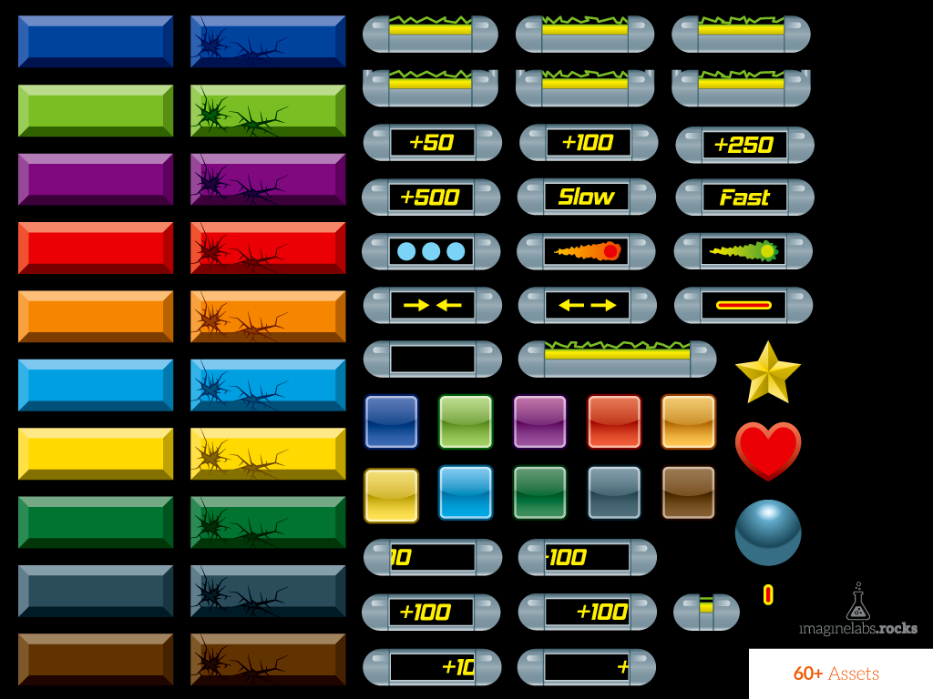 Breakout (Brick Breaker) Game Tile Set – Free   GSHelper com
